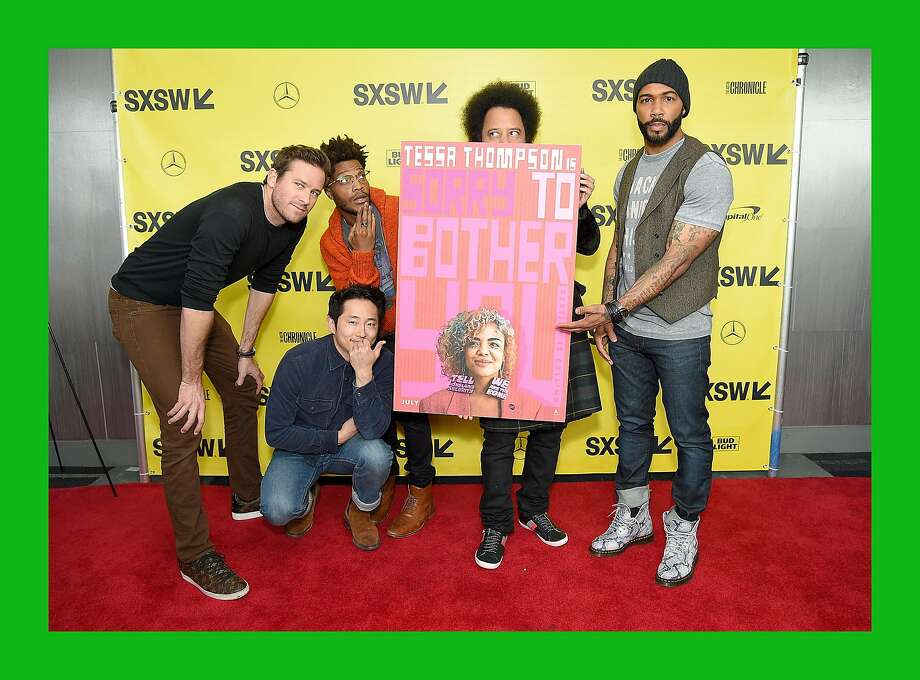 """Actors Armie Hammer, Steven Yeun, and Jermaine Fowler, director and screenwriter Boots Riley, and actor Omari Hardwick attend the """"Sorry to Bother You"""" premiere during the 2018 SXSW Conference and Festivals at ZACH Theatre on March 11, 2018 in Austin, Texas. Photo: Michael Loccisano, Getty Images For SXSW"""