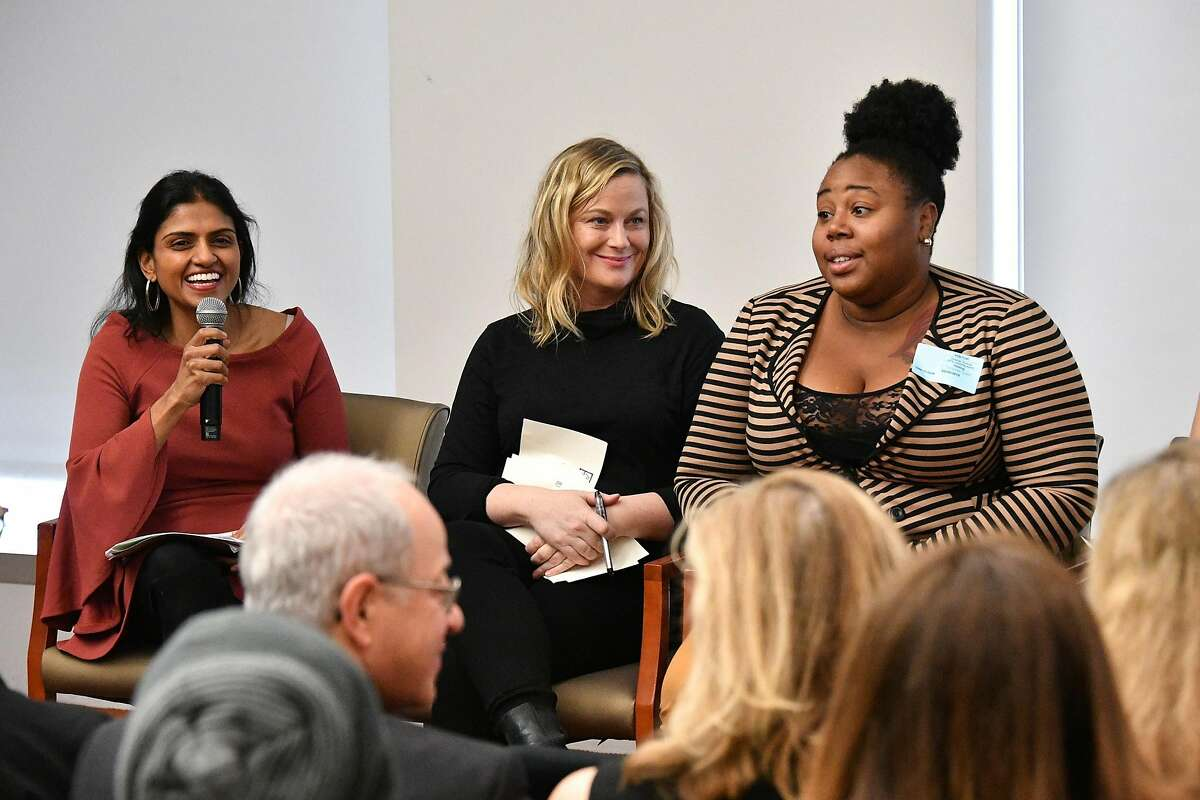 NEW YORK, NY - FEBRUARY 20: (L-R) Saru Jayaraman, Amy Poehler, and Shanita Thomas attend the One Fair Wage Event at the Rockefeller Foundation on February 20, 2018 in New York City. (Photo by Dia Dipasupil/Getty Images)