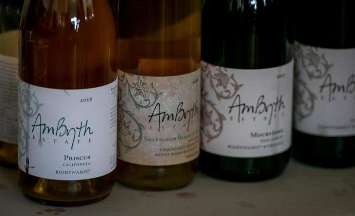 The wines of Ambyth winery at a natural wine tasting in the Starline Social Club in Oakland, Calif. on March 11th, 2018.
