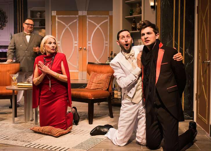 """Sitcom star James Wicker (P.A. Cooley), washed-up Oscar winner Virginia Noyes (Michaela Greeley), optimistic playwright Peter Austin (Chris Morrell) and directing wunderkind Frank Finger (Kevin Singer) pray to the gods of theatre for a hit show in New Conservatory Theatre Center's """"It's Only a Play."""""""