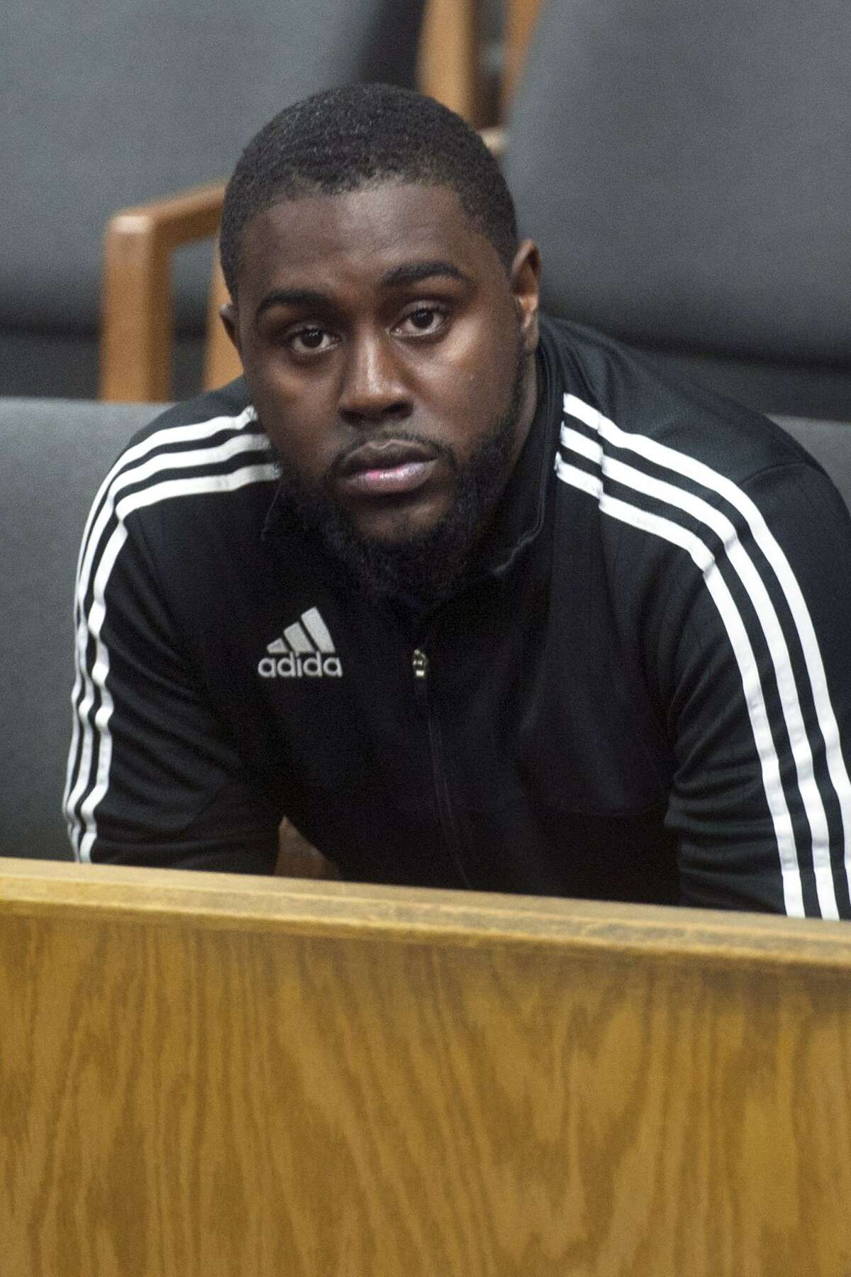 Jermaine Scott appears at his arraignment in Norwalk Superior Court, in Norwalk, Conn. March 12. 2018. Scott was arrested Friday by Norwalk Police on murder charges for the July 2017 shooting of Johnny Lezeau.