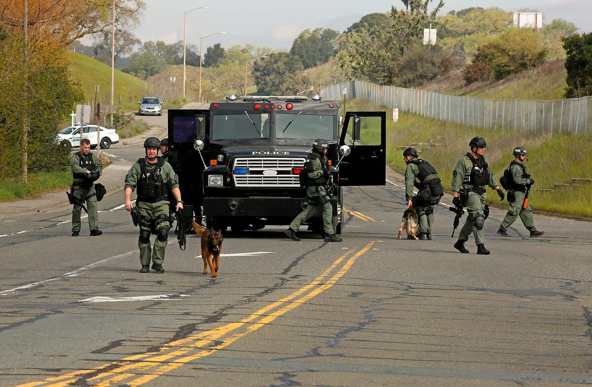 Novato Police officers joined the search for armed robbery suspects who are considered armed and dangerous, after a home invasion robbery in Petaluma on Mon. March 12, 2018, in Novato, Calif. Officers were dispatched about 3 a.m. to the 100 block of Eugenia Drive in Petaluma after reports of nine suspects robbing at least three different homes, police said. The suspects were reportedly looking for marijuana.