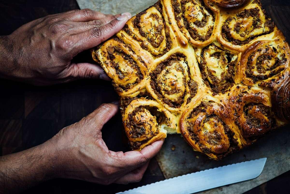 Savory lamb swirl buns