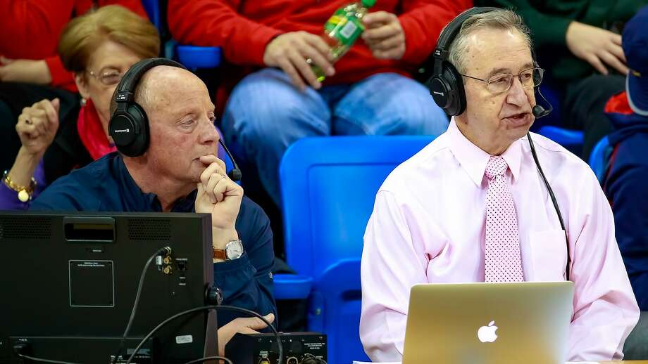 Bill Schweizer, right has been the play by play announcer of Quinnipiac sports since 1997. The majority of those games have been called with his color analyst and close friend Bill Mecca. Photo: Quinnipiac Athletics / © Rob Rasmussen