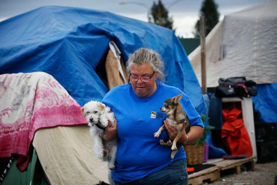 Tina Hood cradles her dogs Little Mama (right) and Chula as she walks between the tents at her encampment. Photo: Lea Suzuki, The Chronicle