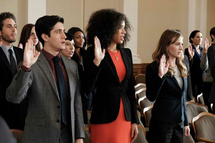 "Wesam Keesh, from left, Jasmin Savoy Brown and Britt Robertson play public defenders in the ABC legal drama ""For the People."""