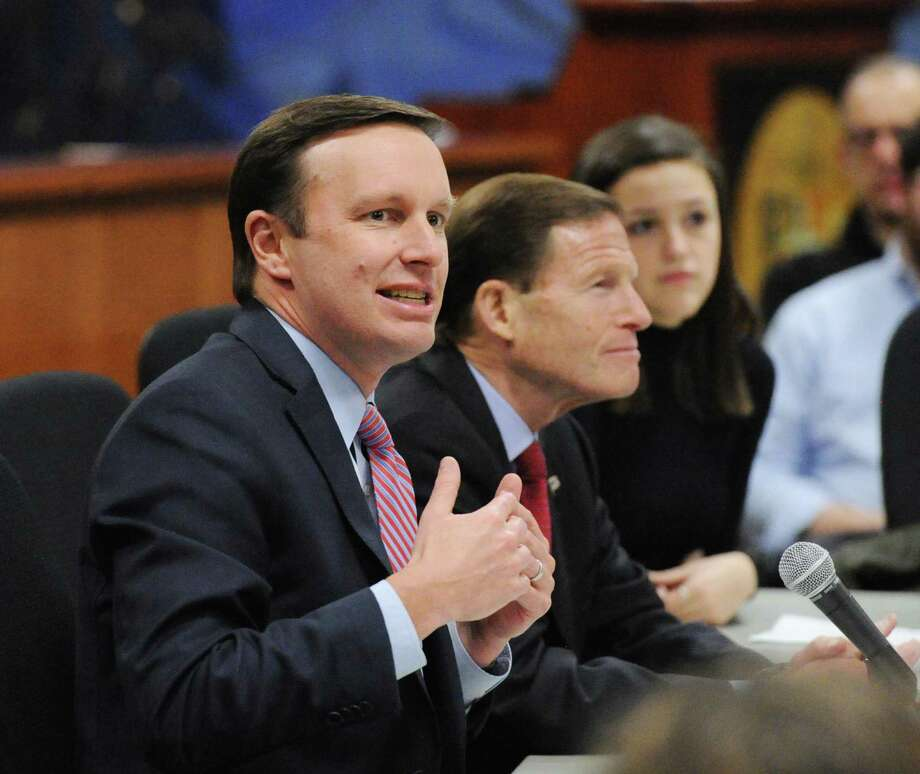 "U.S. Senators Chris Murphy and Richard Blumenthal, both of Connecticut, hosted the public forum ""Roundtable Discussion on Gun Violence"" at Greenwich Town Hall, Conn., Friday, March 2, 2018. President Donald Trump's plan for ensuring school safety against mass shootings accentuates his support for the NRA-backed idea of arming teachers and other volunteers to ward off mass shooters, an idea roundly condemned by Connecticut lawmakers. Photo: Bob Luckey Jr. / Hearst Connecticut Media / Greenwich Time"