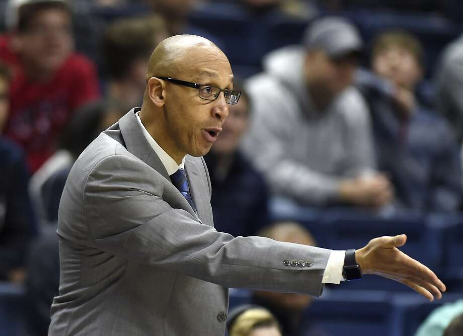Connecticut Huskies associate head coach Raphael Chillious speaks to a player during a game against Memphis on Sunday, Feb. 25, 2018 at Gampel Pavilion in Storrs, Conn. Memphis won the game, 83-79. (Brad Horrigan/Hartford Courant/TNS) Photo: Brad Horrigan, TNS
