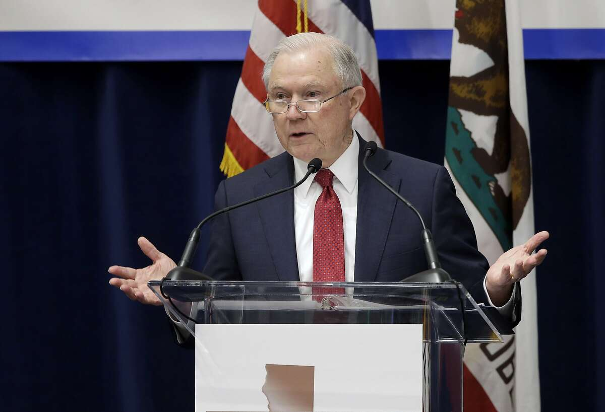 FILE - In this March 7, 2018 file photo, U.S. Attorney General Jeff Sessions addresses the California Peace Officers' Association at the 26th Annual Law Enforcement Legislative Day in Sacramento, Calif. Federal prosecutors won't take on small-time marijuana cases, despite the Justice Department's decision to lift an Obama-era policy that discouraged U.S. authorities from cracking down on the pot trade in states where the drug is legal, Sessions said Saturday, March 10.