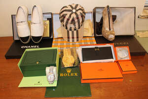 Customs and Border Protection officials will showcase counterfeit goods seized in Texas at George Bush Intercontinental Airport on March 13, 2018.