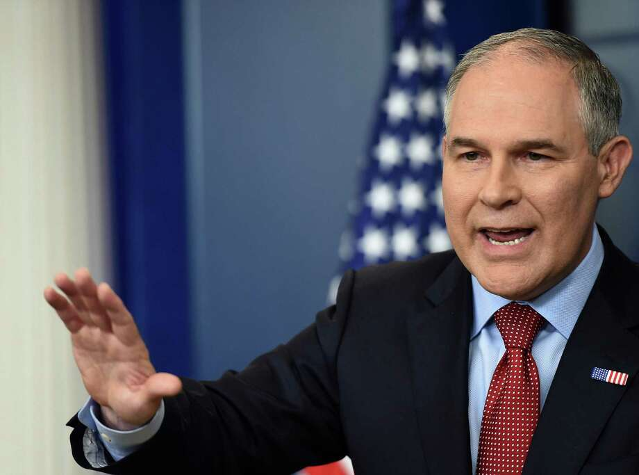 EPA Administrator Scott Pruitt speaks on June 2, 2017, during a briefing in the Brady Briefing Room at the White House in Washington D.C. (Molly Riley/Sipa USA/TNS) Photo: Molly Riley, FILE / TNS / Sipa USA