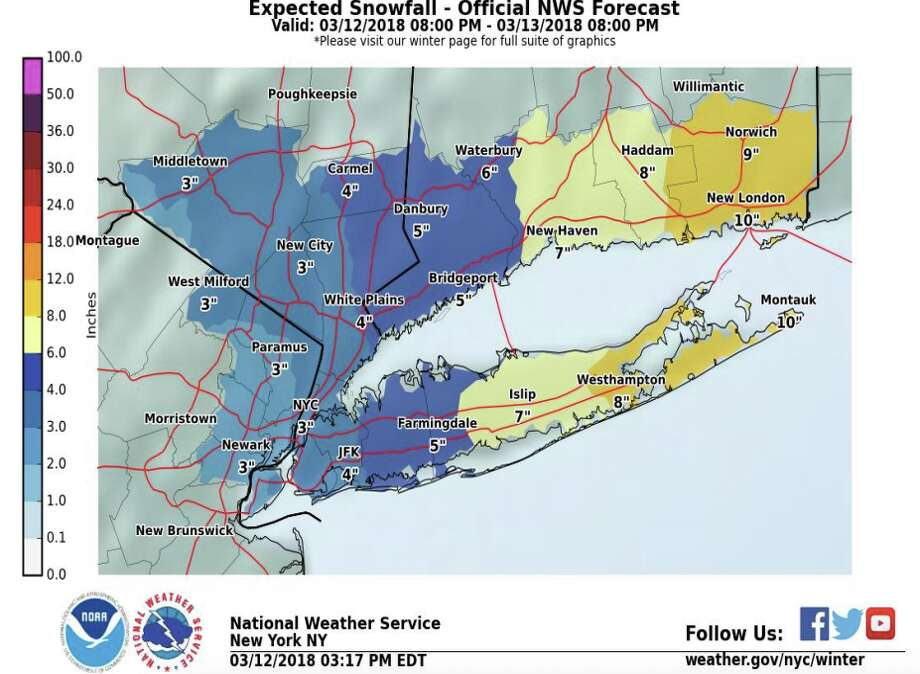 A winter storm warning is in effect for the state as snow showers arriving overnight will continue through Tuesday morning and persist into the afternoon, according to the National Weather Service. Photo: National Weather Service