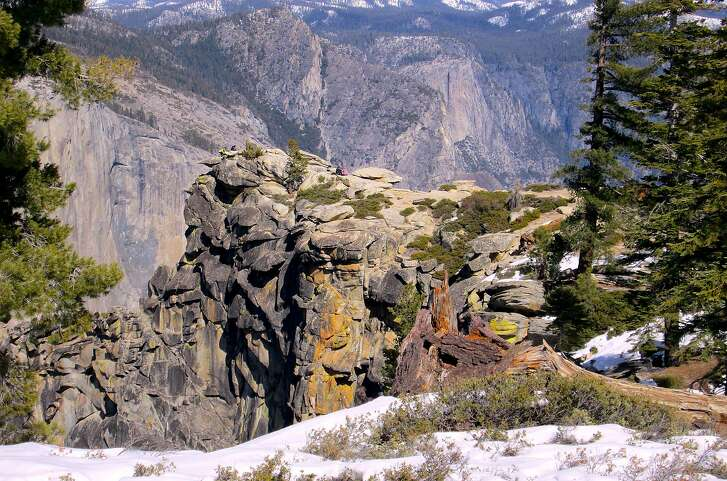 In the backcountry of Yosemite National Park, a 4.9-mile snow trek, one-way, from Badger Pass leads to 7,385-foot Dewey Point on the southern rim above Yosemite Valley for a perch with a world-class view.