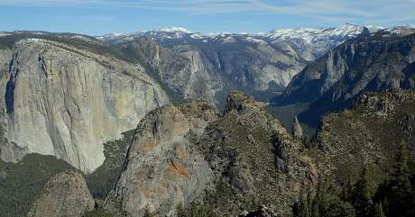 From Dewey Point on the southern rim above Yosemite Valley, dozens of landmarks, from El Capitan on the left to Cathedral Spires on the right and beyond to Half Dome and Cloud's Rest, come into view, a world-class snow-trek destination.