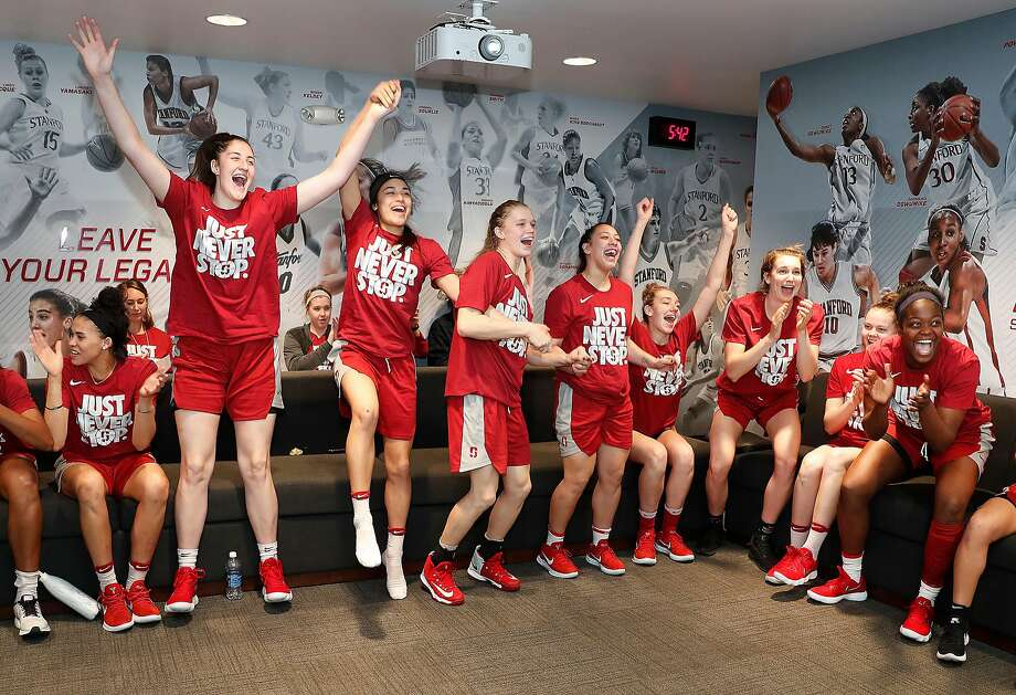 Above, the Stanford women cheer as they learn of their selection to the NCAA Tournament on Monday. The Cardinal, a fourth seed, will host the first two rounds, including an opening-round matchup with 13-seed Gonzaga. Photo: Tony Avelar, Special To The Chronicle
