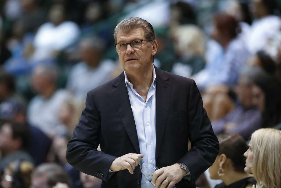 Connecticut head coach Geno Auriemma watches the action in the second half of an NCAA basketball game against Tulane in New Orleans, Wednesday, Feb. 21, 2018. Connecticut won 91-47. (AP Photo/Scott Threlkeld) Photo: Scott Threlkeld, Associated Press