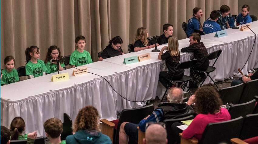 Students from across the Capital Region compete in the Battle of the Books which was held in Palamountain Hall on the Skidmore Campus Monday March 12, 2018 in Saratoga Springs, N.Y. (Skip Dickstein/Times Union)