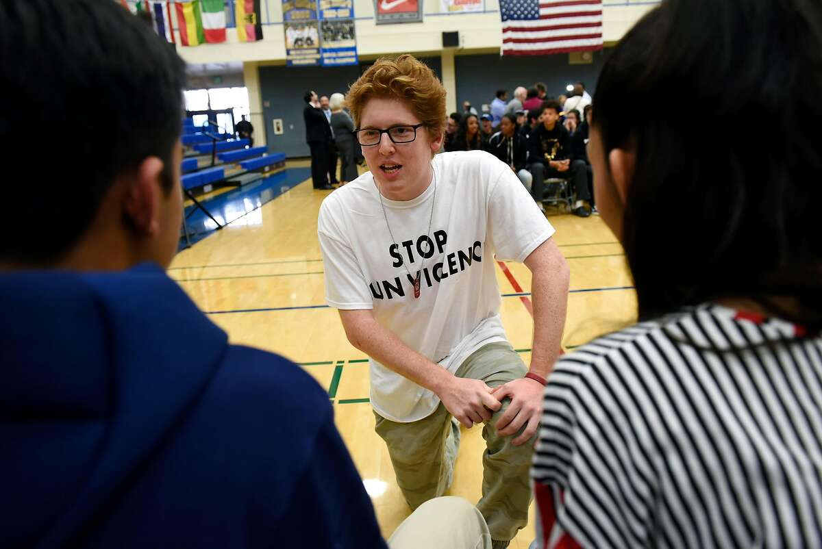 Former Parkland, Florida student and March For Our Lives member Matt Deitsch speaks with students at Newark Memorial High School during a panel discussion on gun violence, in Newark, Calif., on Monday March 12, 2018.
