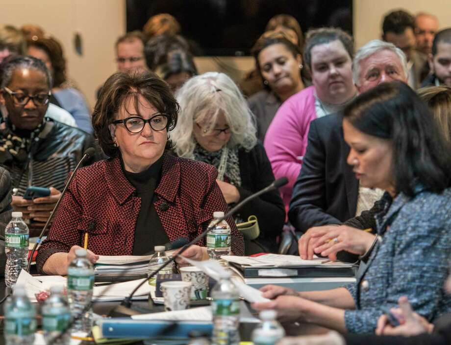 Commissioner of Education MaryEllen Elia, left, listens to presentations during the New York State Board of Regents monthly meeting which cover various subjects Monday March 12, 2018 Albany, N.Y. (Skip Dickstein/Times Union) Photo: SKIP DICKSTEIN / 20043192A