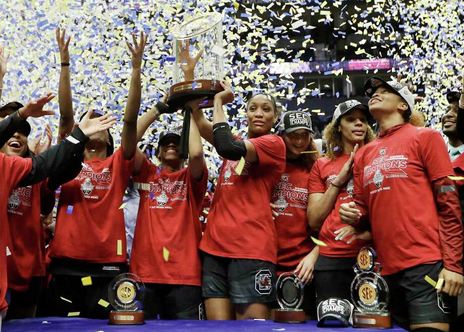 The South Carolina team celebrates after beating Mississippi State to win the NCAA college basketball championship game at the women's Southeastern Conference tournament, Sunday, March 4, 2018, in Nashville, Tenn. (AP Photo/Mark Humphrey) Photo: Mark Humphrey / Copyright 2018 The Associated Press. All rights reserved.