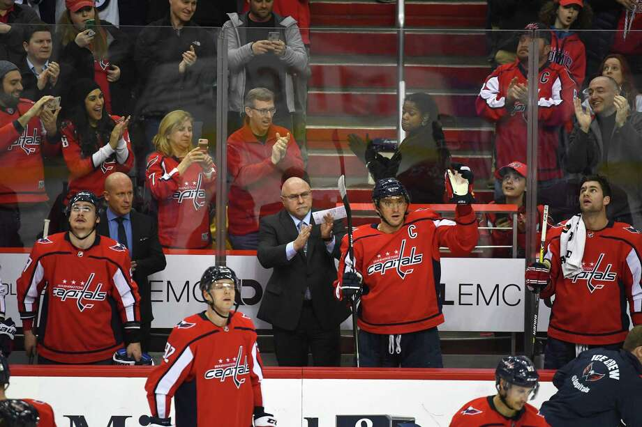 Alex Ovechkin acknowledges the crowd at Capital One Arena after scoring his 600th career goal Monday night. Photo: Washington Post Photo By Katherine Frey / The Washington Post