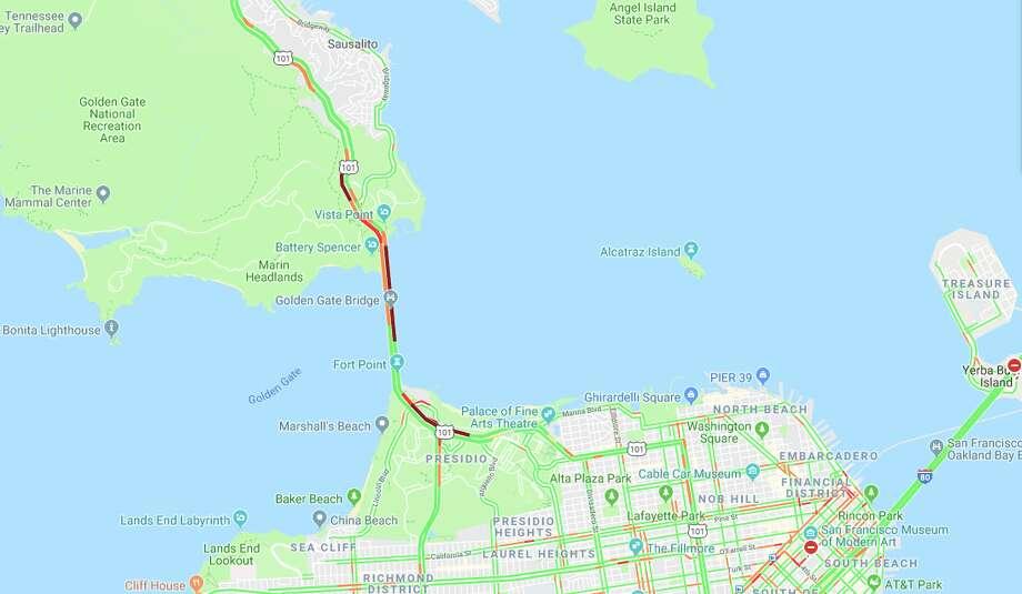 Northbound traffic on the Golden Gate Bridge was halted after a pedestrian was struck by a car Monday night. Photo: Screenshot