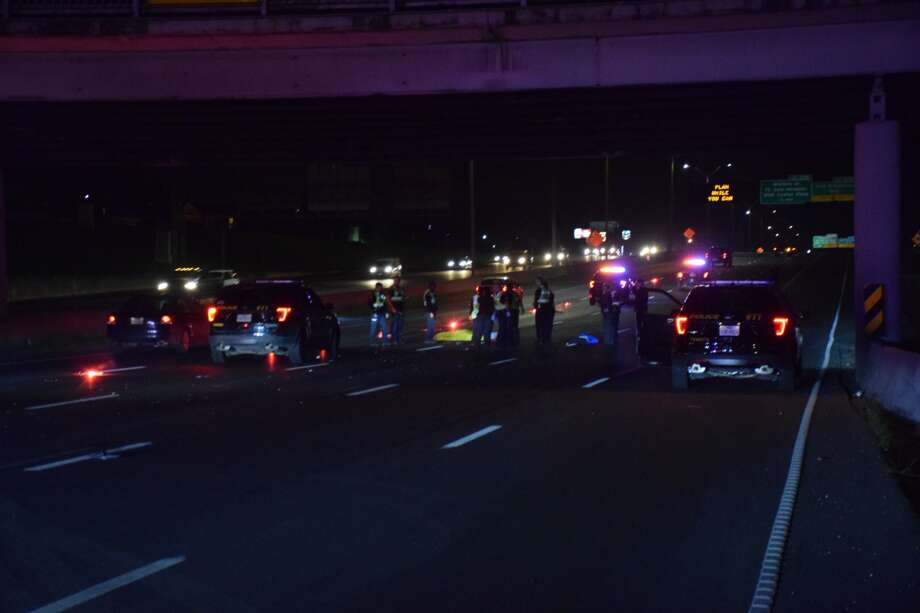 A pedestrian was killed on Tuesday, March 13, 2018 after he was struck while crossing Interstate 35 near the Pine Street bridge near downtown San Antonio. Photo: Caleb Downs / San Antonio Express-News