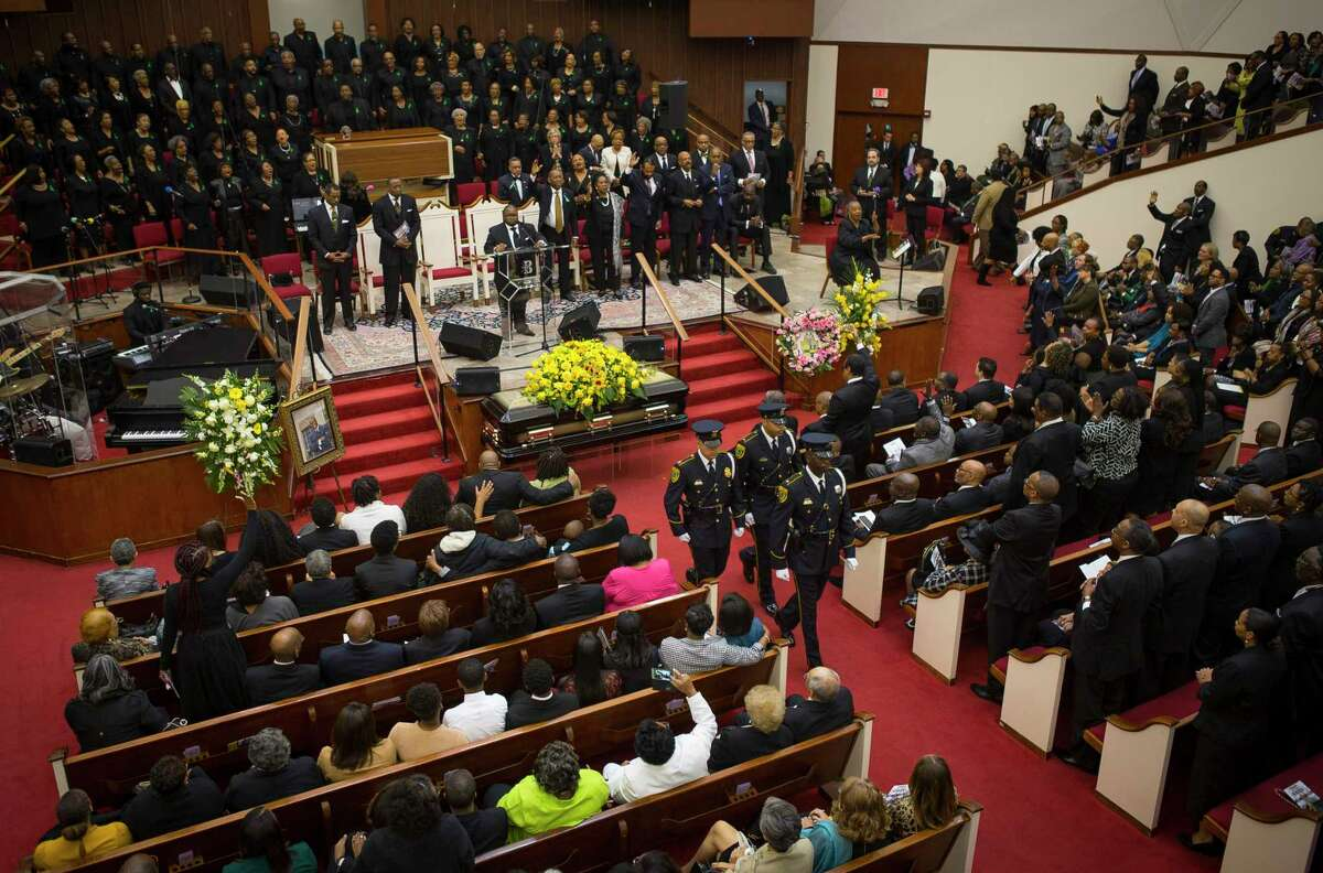 Houston City Councilman Larry Vincent Green's casket is closed at the beginning of his celebration of life service at Brentwood Baptist Church, Monday, March 12, 2018, in Houston.