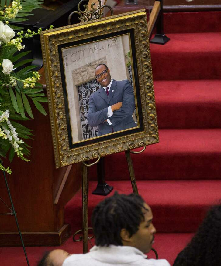 A photograph of Larry Green in front of Houston City Hall sits near his casket during a celebration of life service for Houston City Councilman Larry Vincent Green at Brentwood Baptist Church, Monday, March 12, 2018, in Houston.