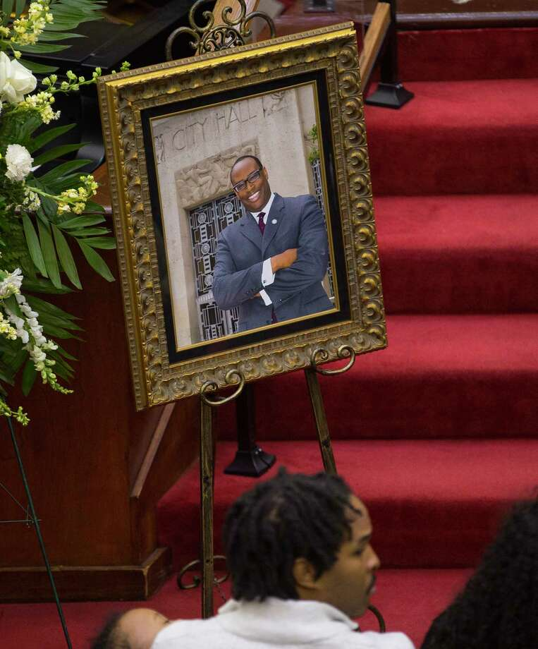 A photograph of Larry Green in front of Houston City Hall sits near his casket during a celebration of life service for Houston City Councilman Larry Vincent Green at Brentwood Baptist Church, Monday, March 12, 2018, in Houston. Photo: Mark Mulligan, Houston Chronicle / © 2018 Houston Chronicle