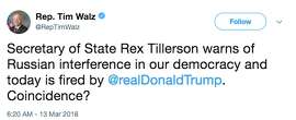 Twitter reacts to President Donald Trump firing Secretary of State Rex Tillerson. On Tuesday morning, Trump also announced that he plans to nominate CIA Director Mike Pompeo to replace Tillerson as the nation's top diplomat. Trump selected Gina Haspel - the deputy director at the CIA - to succeed Pompeo at the CIA.