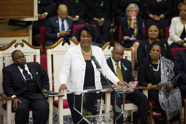 Martha Castex-Tatum speaks during a celebration of life service for Houston City Councilman Larry Vincent Green at Brentwood Baptist Church, Monday, March 12, 2018, in Houston.