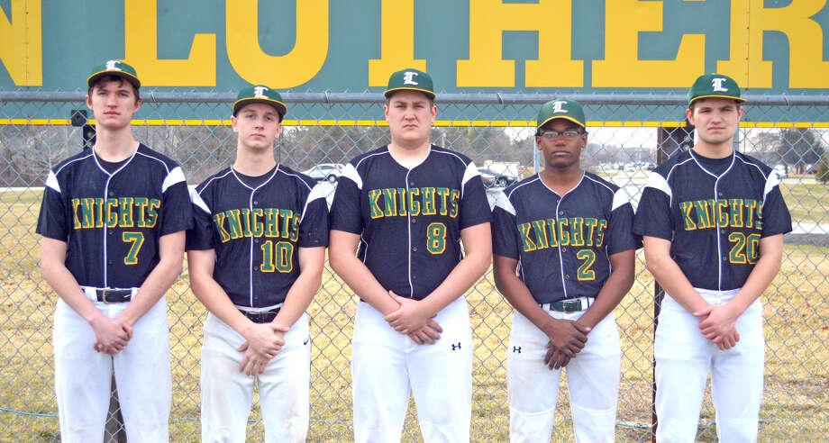Seniors on the Metro-East Lutheran baseball team are, left to right, Daniel Shimkus, Eli Jacobs, Ryan Johnson, Darion Brooks and Tarin Hatcher.