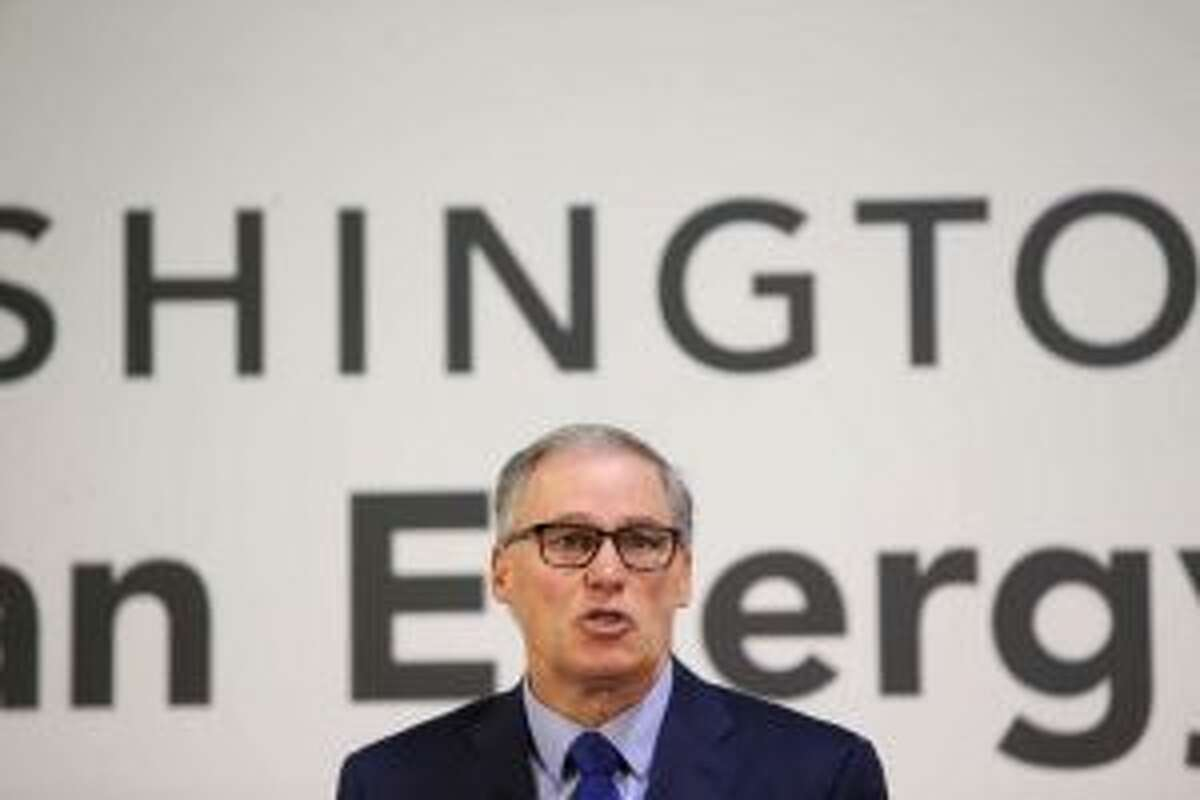 Washington Governor Jay Inslee speaking in January 2018 about a proposed Columbia River oil-by-rail terminal (PI/Genna Martin)