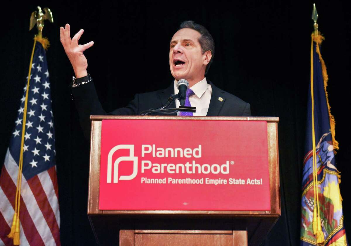 Gov. Andrew Cuomo speaks to NYS Planned Parenthood advocates during a rally at the Empire State Plaza Convention Center Tuesday March 13, 2018 in Albany, NY. (John Carl D'Annibale/Times Union)