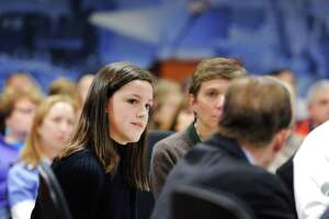 "Fairfield Ludlowe High School senior Molly Baker, 18,   at the public forum ""Roundtable Discussion on Gun Violence""   at Greenwich Town Hall on  March 2 ."