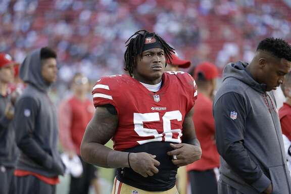 In this Oct. 22, 2017 file photo, San Francisco 49ers linebacker Reuben Foster (56) stands on the sideline during the second half of an NFL football game against the Dallas Cowboys in Santa Clara, Calif. Foster has been arrested in Mississippi and charged with second-degree possession of marijuana. AL.com says the Tuscaloosa County Sheriff's Office arrest database indicates Foster, who just finished his rookie season, was arrested Friday, Jan. 12, 2018.  (AP Photo/Marcio Jose Sanchez, File)
