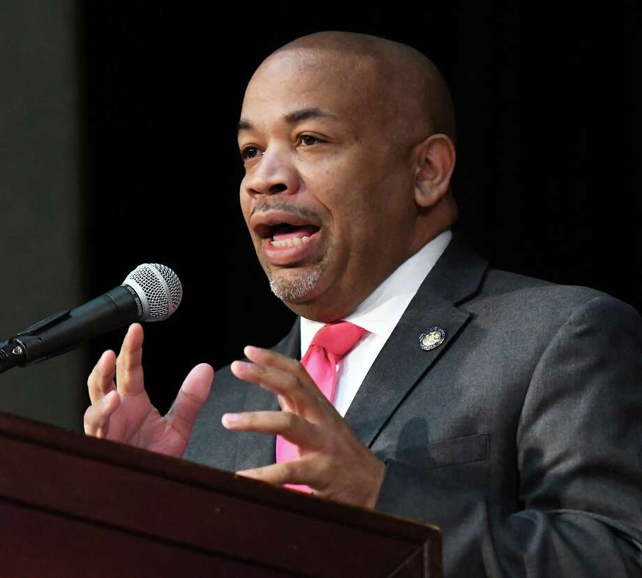 Speaker of the Assembly Carl Heastie speaks to NYS Planned Parenthood advocates during a rally at the Empire State Plaza Convention Center Tuesday March 13, 2018 in Albany, NY.  (John Carl D'Annibale/Times Union) Photo: John Carl D'Annibale, Albany Times Union / 20043197A