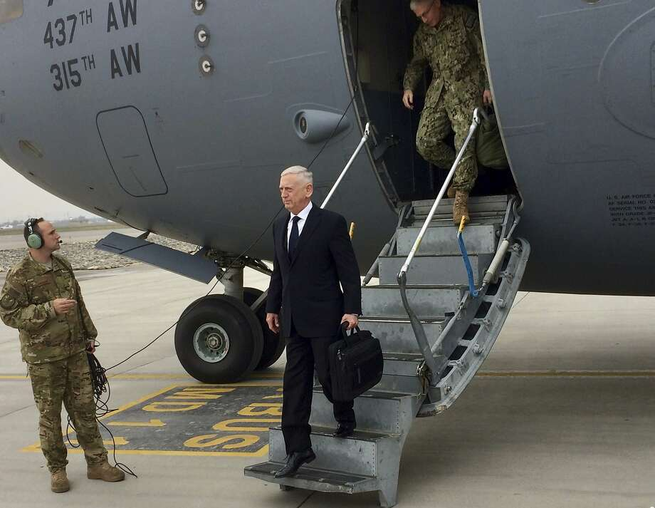 U.S. Defense Secretary Jim Mattis arrives in Kabul. He believes victory is still possible — not on the battlefield but in facilitating a Taliban reconciliation with the Afghan government. Photo: Robert Burns, Associated Press