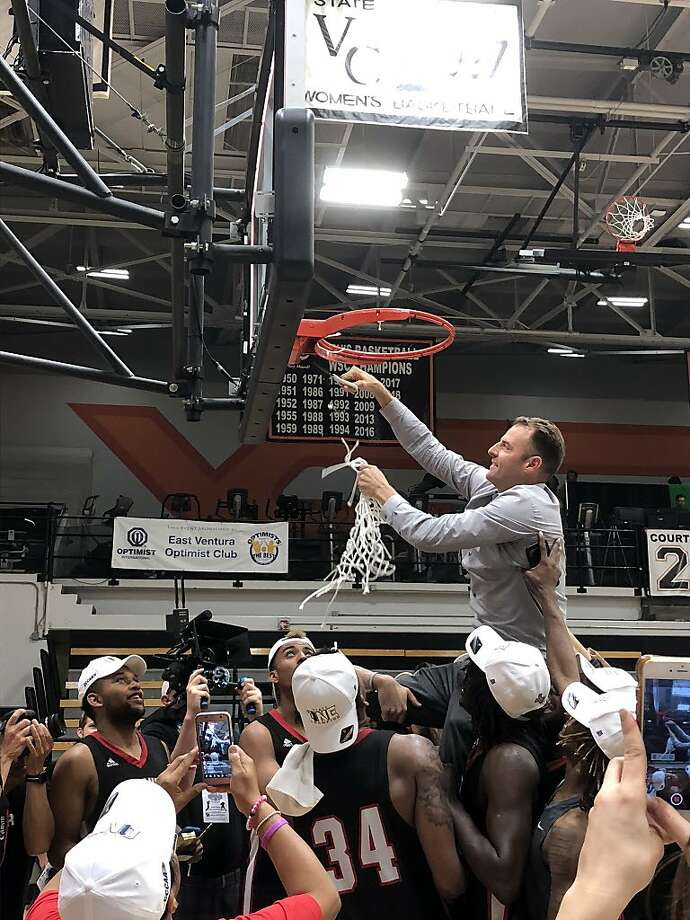 Head coach Justin Labagh cuts down the net Sunday after winning the third state title in his 15 years at CCSF. Photo: Courtesy CCSF