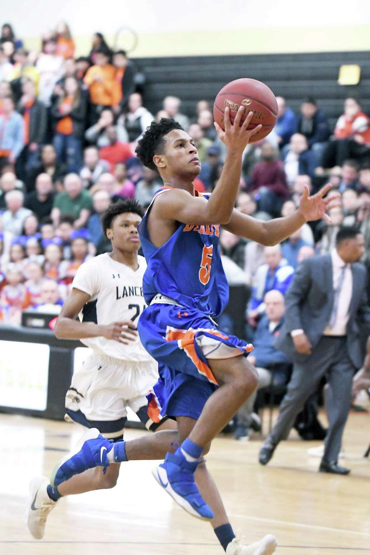 Danbury's Javon Hernandez goes up for a shot against Notre Dame-Fairfield at Trumbull High on Monday.