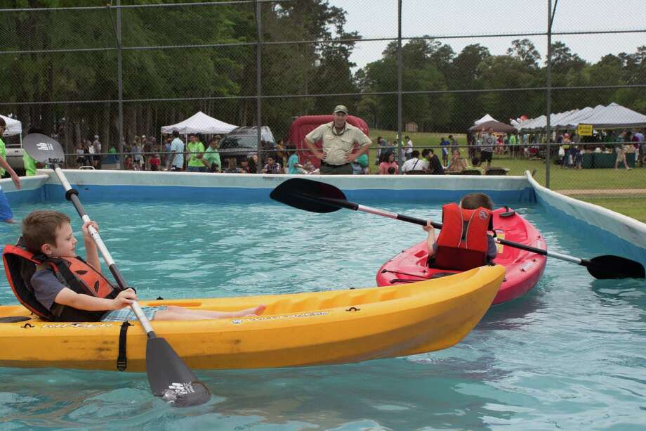 Kids can paddle in a kayak at the Texas Wildlife and Woodland Expo and Spring Fling Saturday, March 24 from 10 a.m. – 2 p.m. at Lone Star College-Montgomery. All activities are free.