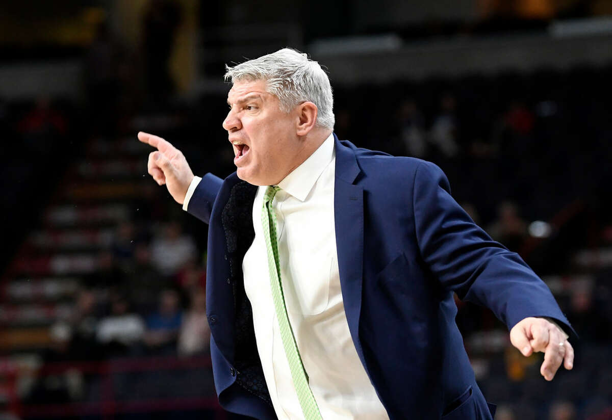 Siena head coach Jimmy Patsos spent last week in California, where he recruited and appeared on a Yahoo! Sports livestream. (Hans Pennink/Special to the Times Union)