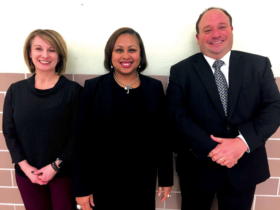 Newly-assigned Edwardsville District 7 administrators are, from left: Jennifer Morgan, Wendy Adams and Curt Schumacher. Photo: Julia Biggs • Jbiggs.edwi@gmail.com