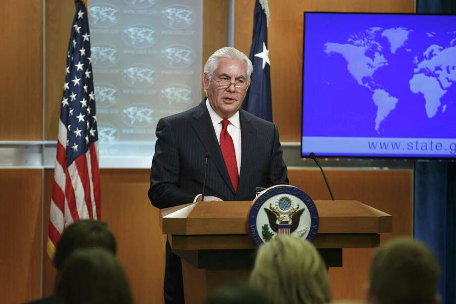 Outgoing U.S. Secretary of State Rex Tillerson delivers remarks at the State Department in Washington, D.C., on March 13, 2018. Photo: Joshua Roberts/Bloomberg / Bloomberg
