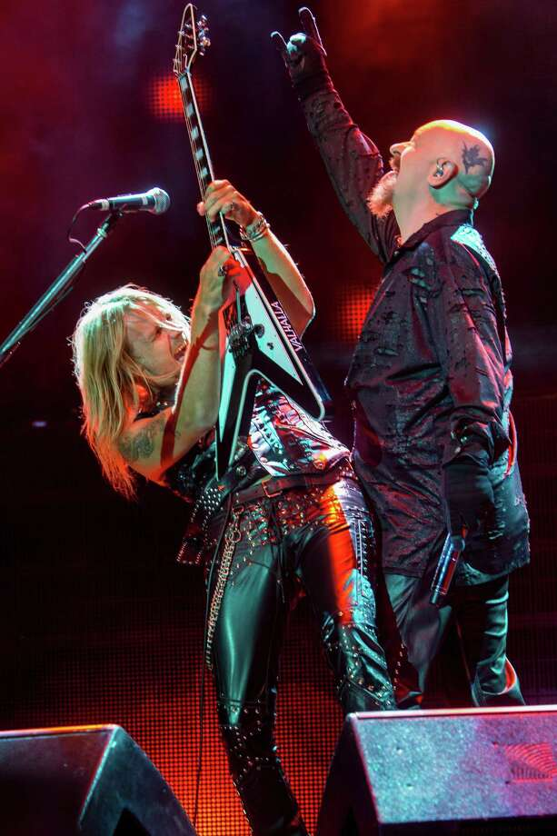Richie Faulkner, left, and Rob Halford of Judas Priest on stage at 2015 Knotfest USA in California. Photo: Paul A. Hebert / Invision/AP File / Invision