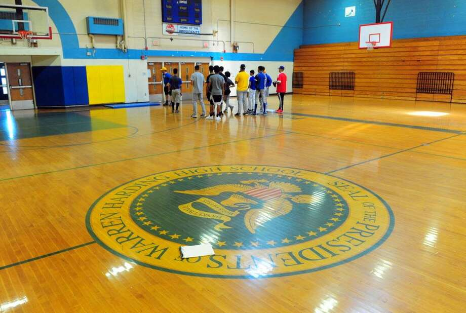 The Harding High School baseball team practices in the gym in Bridgeport, Conn. on Wednesday May 17, 2017. Harding is going to the state tournament for first time since 1988. Photo: Christian Abraham / Hearst Connecticut Media / Connecticut Post