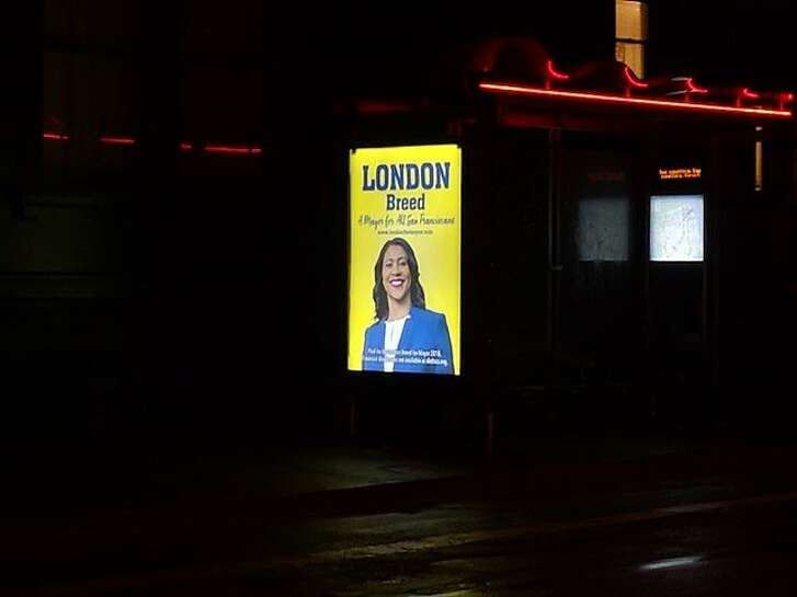London Breed political campaign ad on a Muni bus shelter