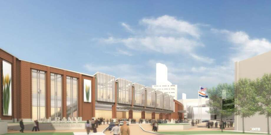 An artist's rendering shows what the proposed convention center in Albany would look like. (Rendering courtesy of HNTB)