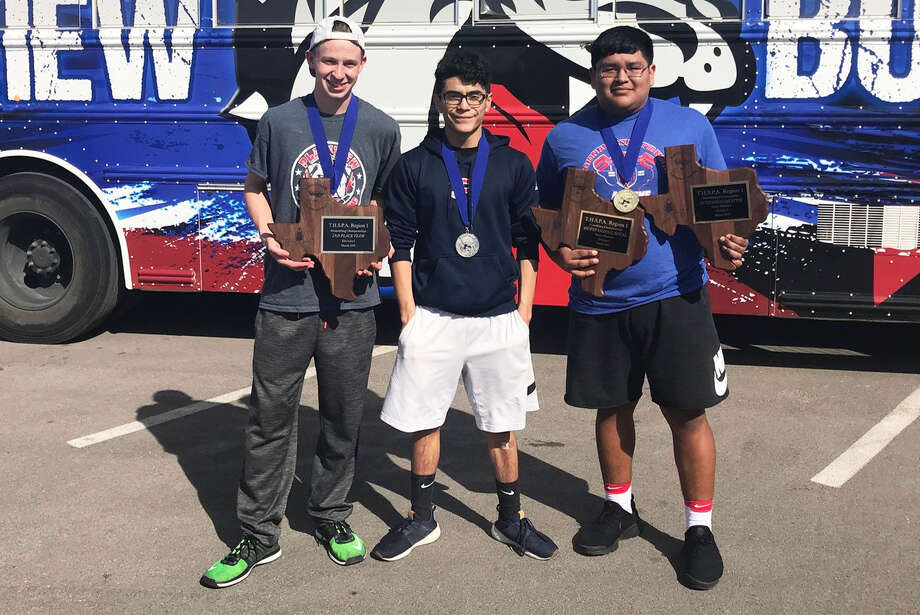 Plainview powerlifters, from left, Skyler Steen, Avery Gallegos and Octavius Vera qualified for the state meet with their performances at regional meet at Abilene Cooper Saturday. Steen was second in the 123-pound weight class and Gallegos was the runner-up at 114 pounds. Vera won the 275-pound weight class by 230 pounds and set a regional record with a 735-pound squat. The state meet will be March 27-28 in Abilene. Photo: Courtesy Photo